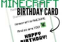 Free Printable Minecraft Birthday Card  Minecraft Stuff  Minecraft with Minecraft Birthday Card Template