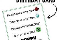 Free Printable Minecraft Birthday Card  Papercrafting  Birthday for Minecraft Birthday Card Template
