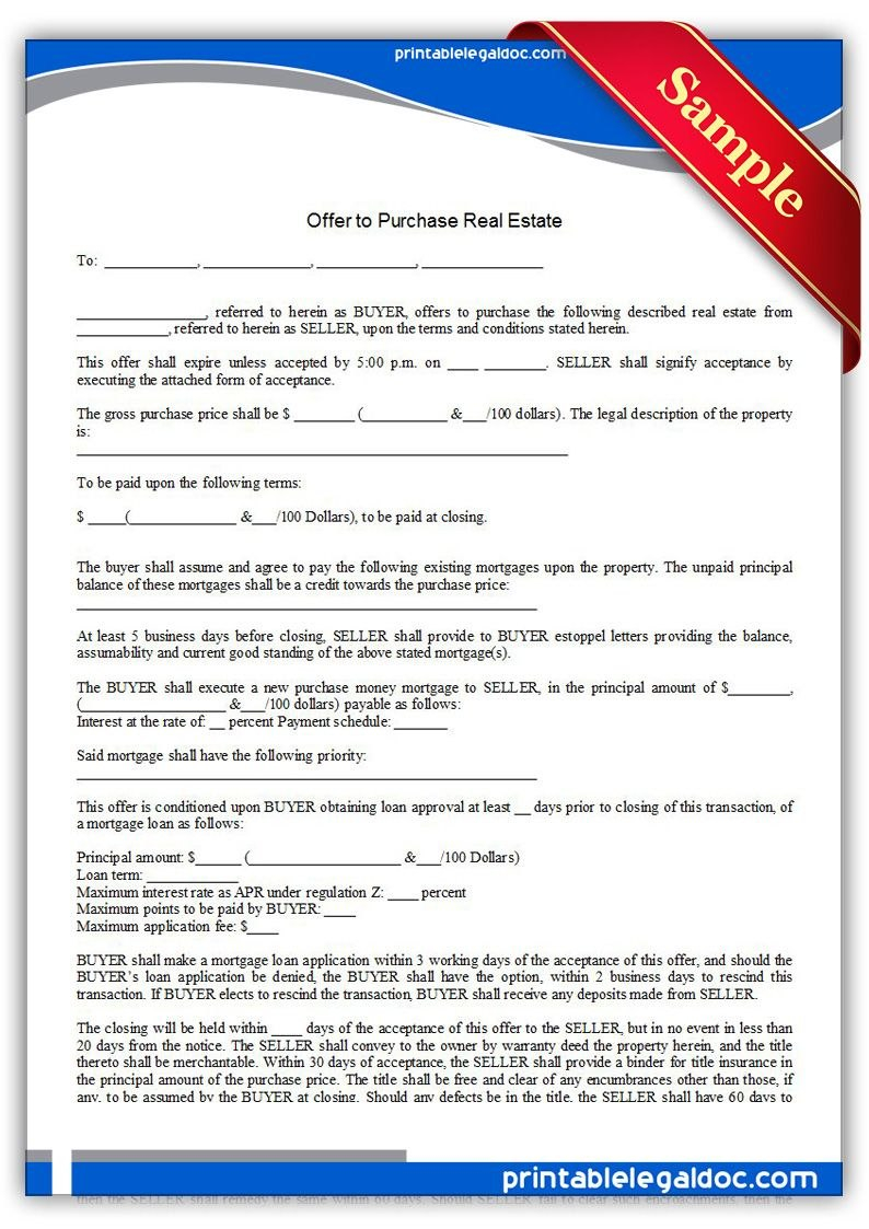 Free Printable Offer To Purchase Real Estate Legal Forms  Free For Offer To Purchase Business Agreement Template