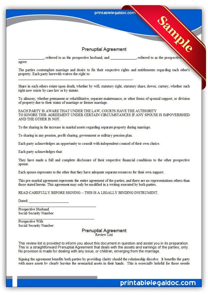 Free Printable Prenuptial Agreement Legal Forms  Free Legal Forms In Free Prenuptial Agreement Template