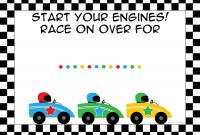 Free Printable Race Car Birthday Party Invitations   Birthdays regarding Blank Race Car Templates