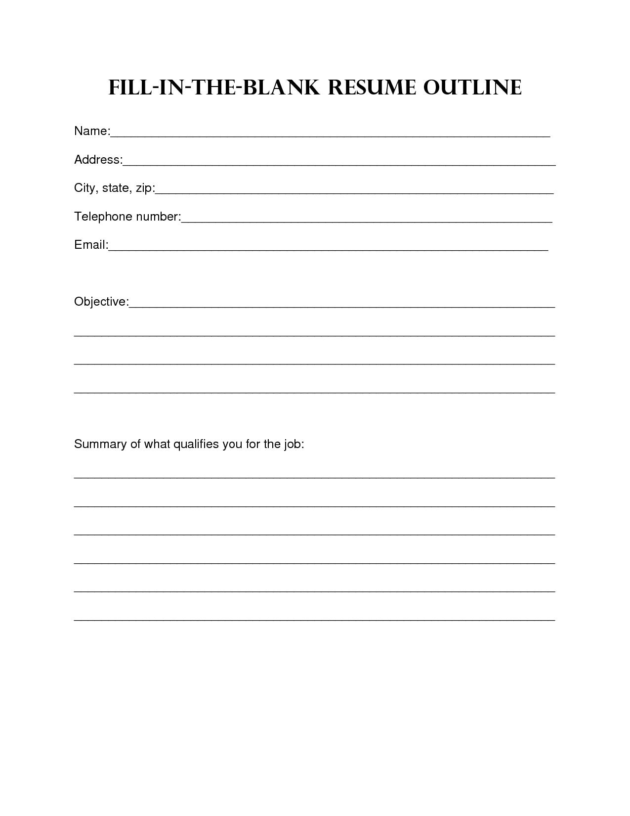 Free Printable Resume Templates Best Template Hdresume Templates With Free Bio Template Fill In Blank