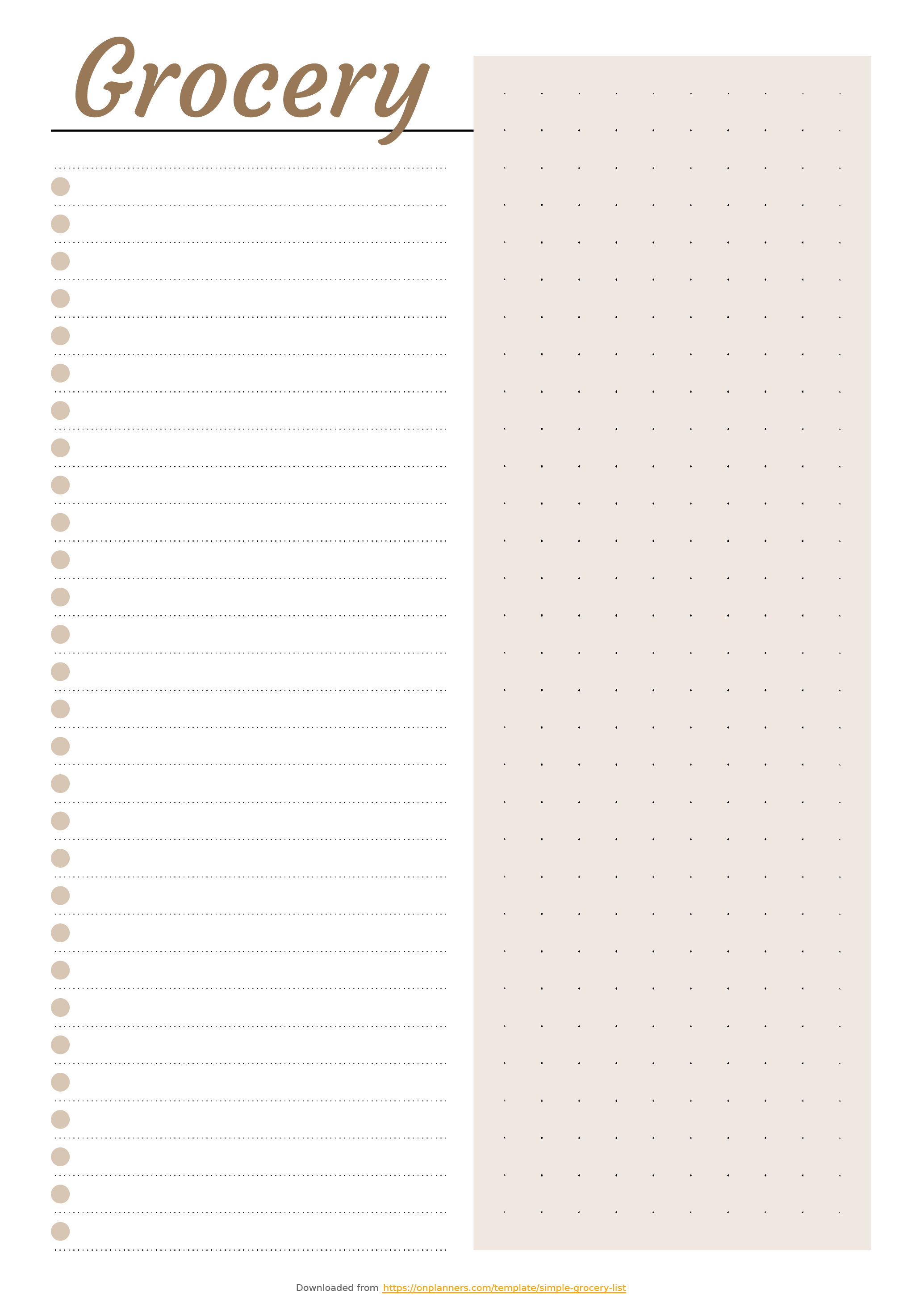 Free Printable Simple Grocery List Template Pdf Download For Blank Checklist Template Pdf