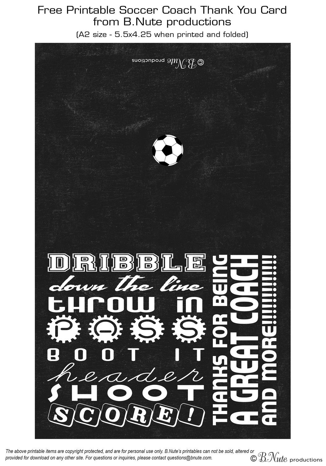 Free Printable Soccer Coach Thank You Card From Bnute Productions Throughout Soccer Thank You Card Template