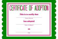 Free Printable Stuffed Animal Adoption Certificate  Free Printables within Pet Adoption Certificate Template