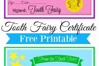 Free Printable Tooth Fairy Certificate  Tooth Fairy Ideas  Tooth within Tooth Fairy Certificate Template Free