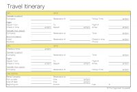 Free Printable – Travel Itinerary  Itineraries Etc  Travel with Blank Trip Itinerary Template