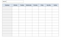 Free Printable Work Schedules  Weekly Employee Work Schedule intended for Blank Trip Itinerary Template
