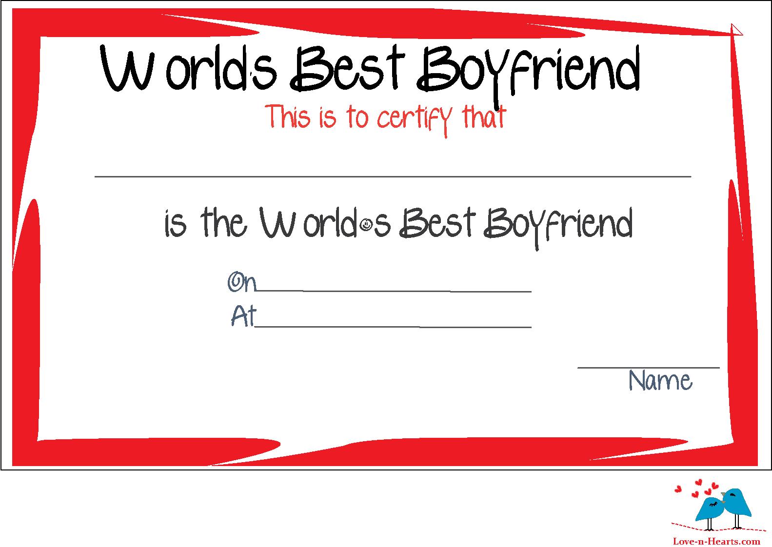 Free Printable World's Best Boyfriend Certificates Inside Love Certificate Templates