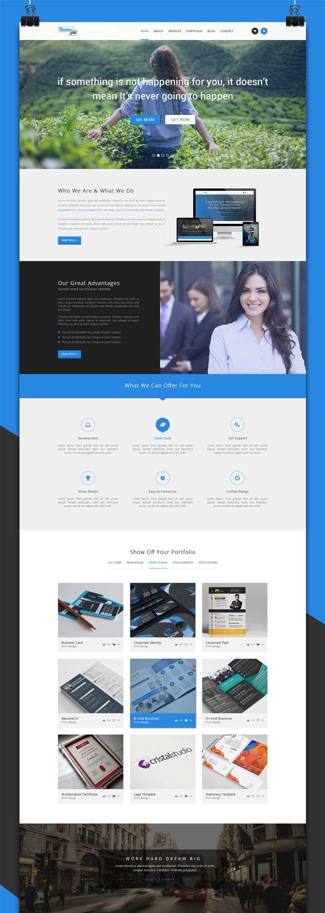 Free Psd Portfolio Website Templates  Designmaz In Free Psd Website Templates For Business