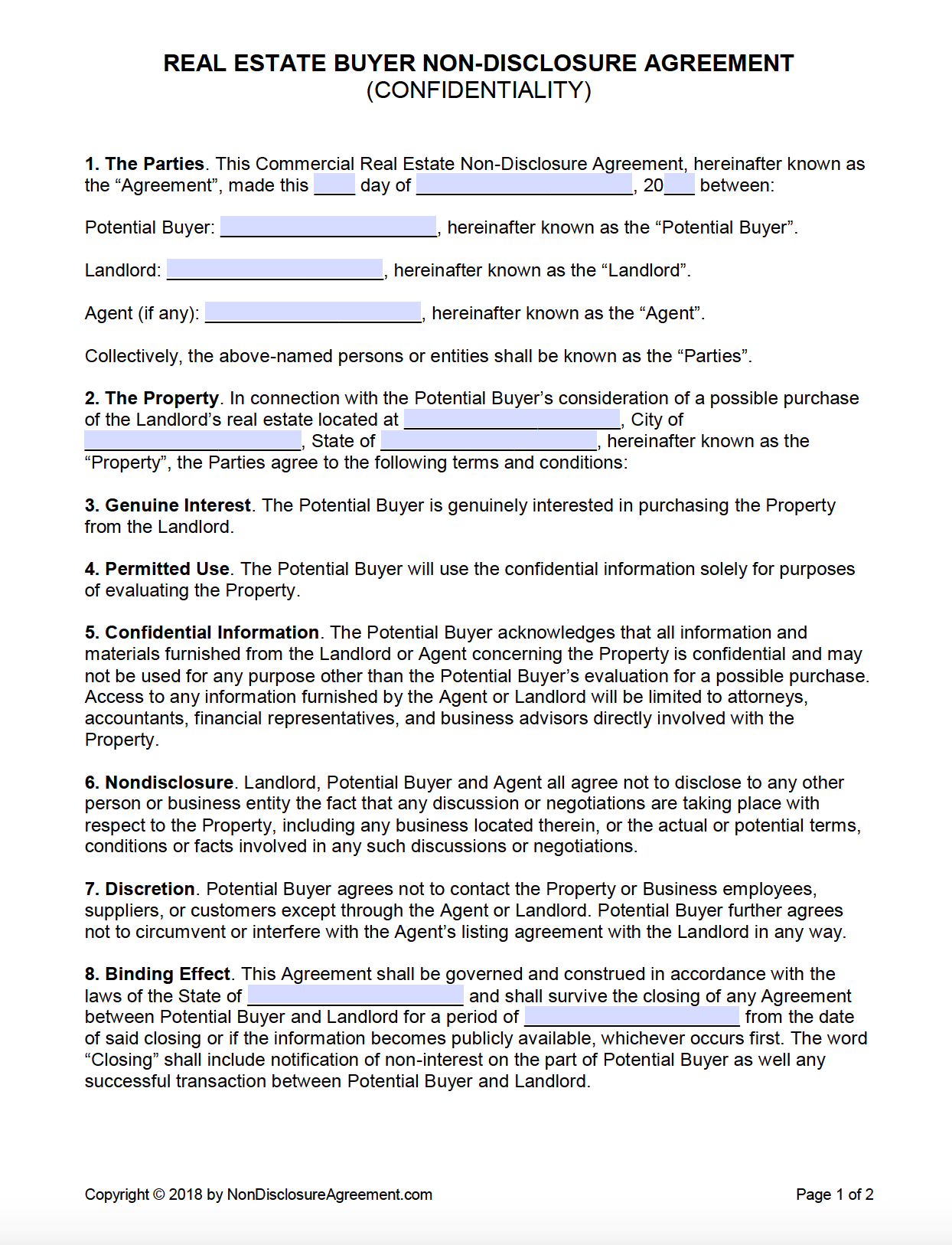Free Real Estate Buyer Confidentiality Nondisclosure Agreement Within Free Binding Financial Agreement Template