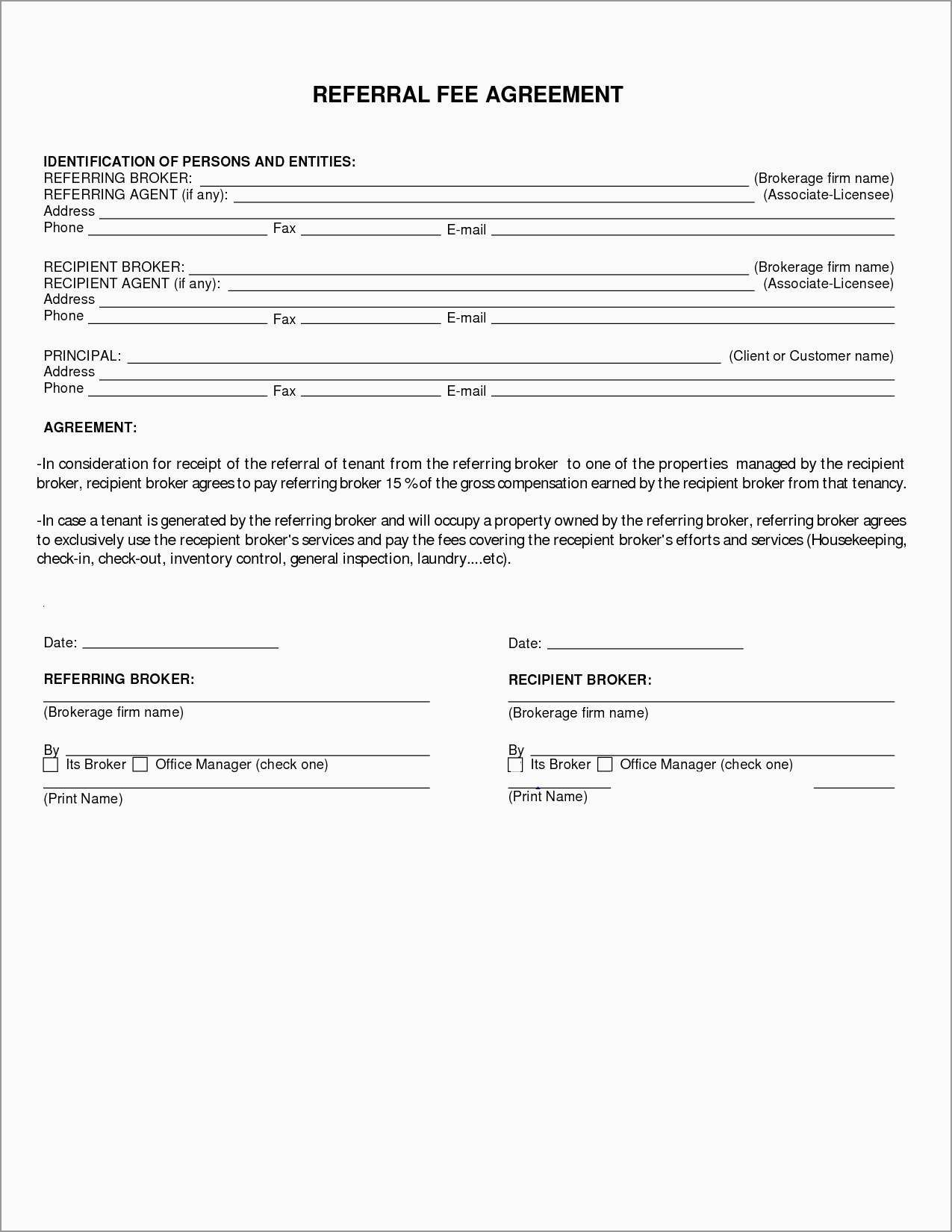 Free Real Estate Referral Form Template Astonishing Referral Fee Within Real Estate Finders Fee Agreement Template