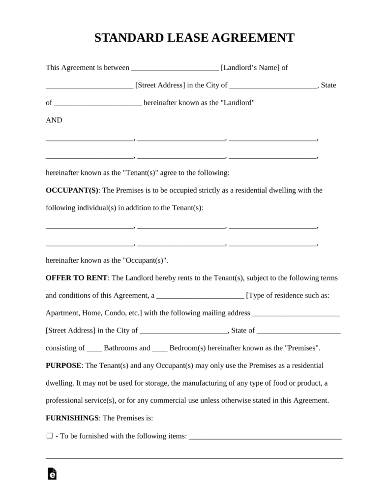 Free Rental Lease Agreement Templates  Residential  Commercial With Free Residential Lease Agreement Template