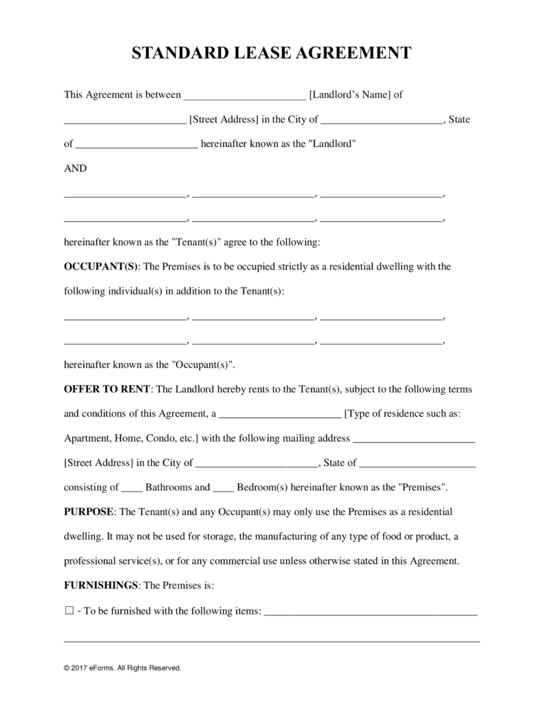 Free Rental Lease Agreement Templates  Residential  Commercial Within Commercial Kitchen Rental Agreement Template