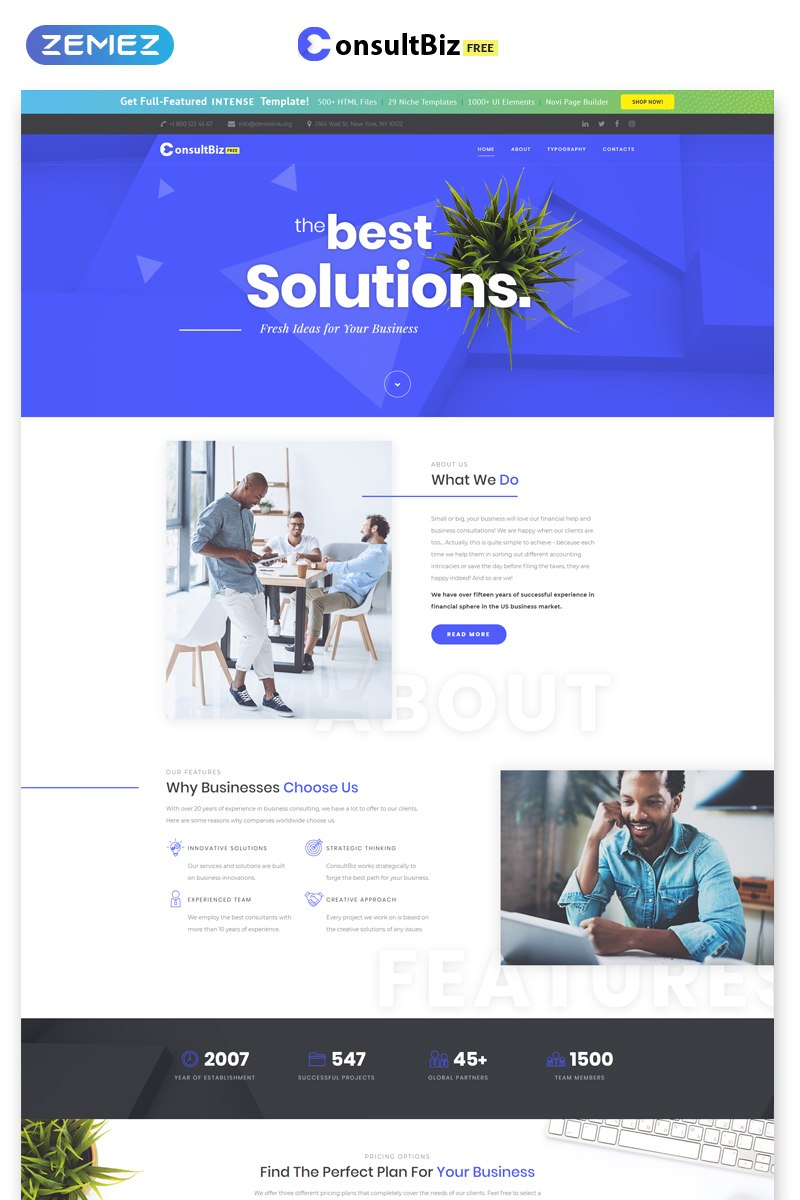 Free Responsive Corporate Template With Regard To Estimation Responsive Business Html Template Free Download