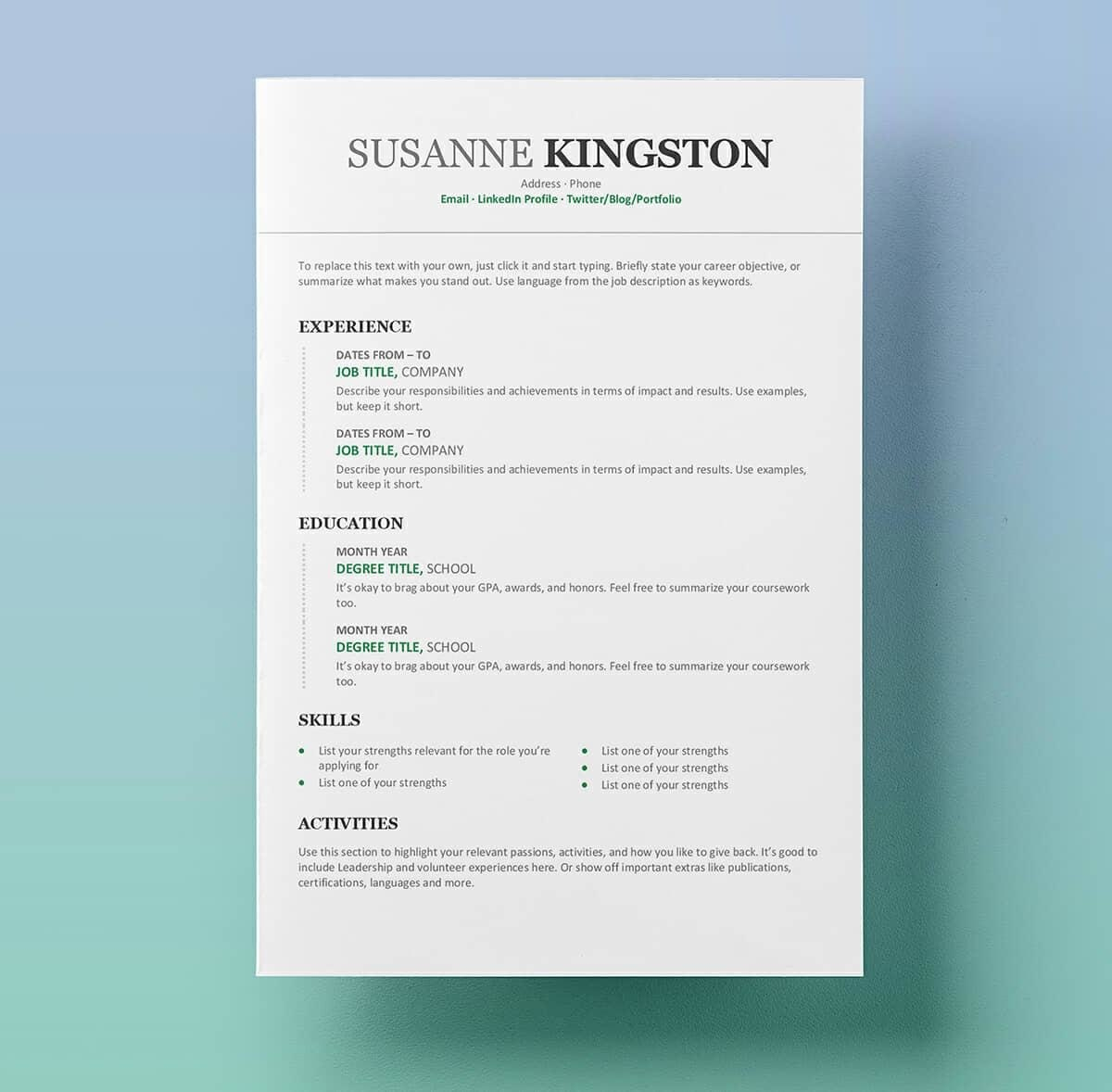 Free Resume Templates For Word  Cvresume Formats To Download Inside How To Get A Resume Template On Word