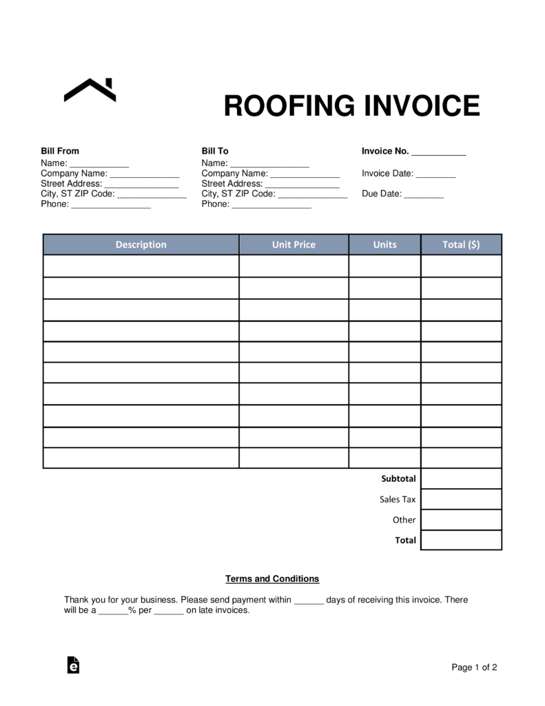 Free Roofing Invoice Template  Word  Pdf  Eforms – Free Fillable For Roofing Invoice Template Free