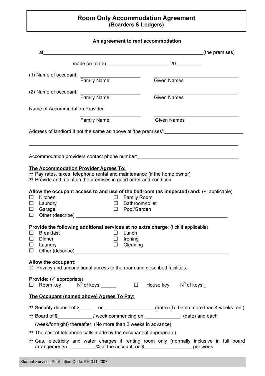 Free Roommate Agreement Templates  Forms Word Pdf For Free Roommate Rental Agreement Template