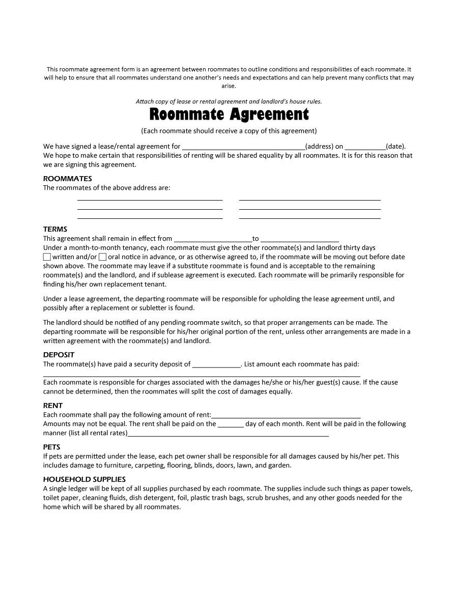 Free Roommate Agreement Templates  Forms Word Pdf Throughout Free Roommate Rental Agreement Template
