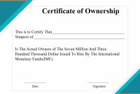 Free Sample Certificate Of Ownership Templates  Certificate Template intended for Certificate Of Ownership Template