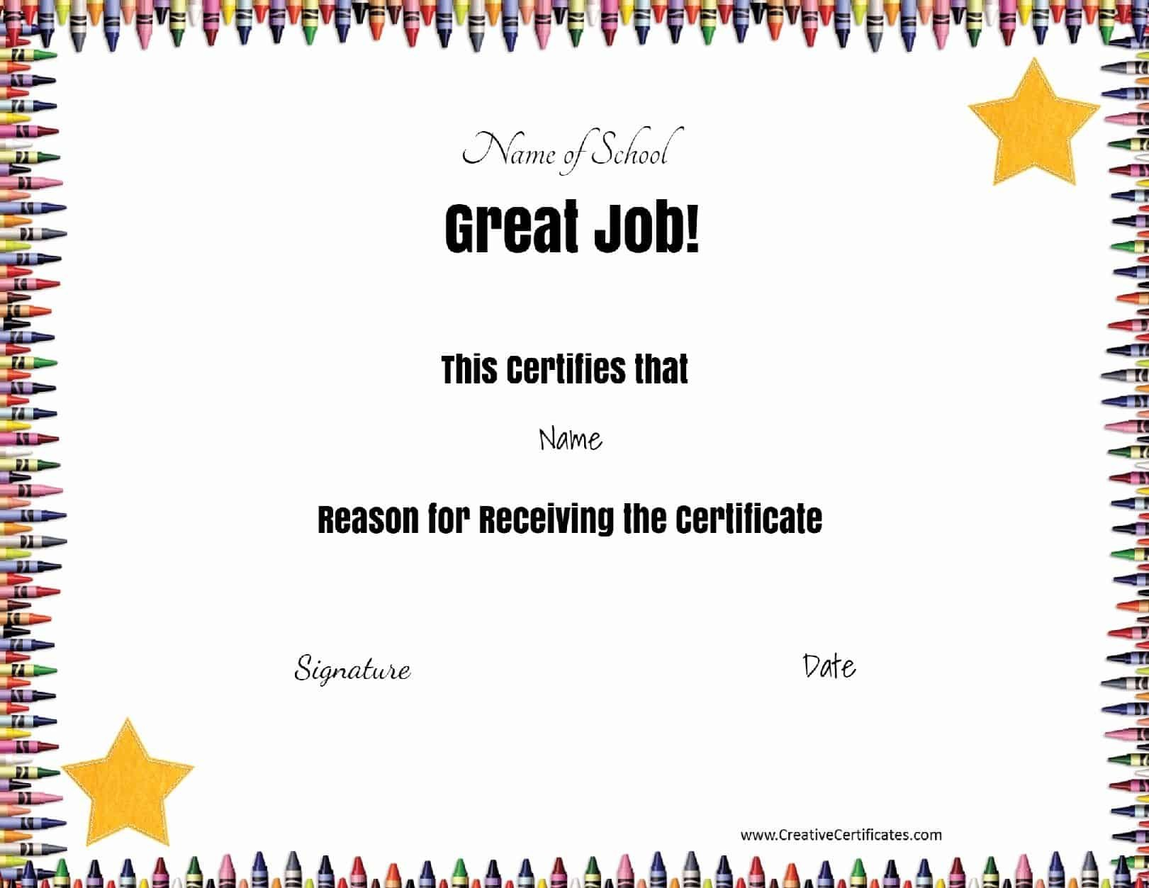 Free School Certificates  Awards Intended For Classroom Certificates Templates