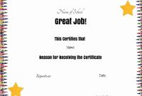 Free School Certificates  Awards with regard to Good Job Certificate Template