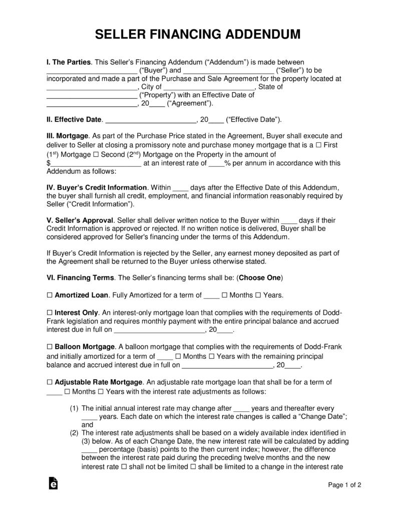 Free Seller Financing Addendum To Purchase Agreement  Pdf  Word Regarding Credit Sale Agreement Template