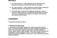 Free Settlement Agreement Templates Divorcedebtemployment with regard to Damages Settlement Agreement Template