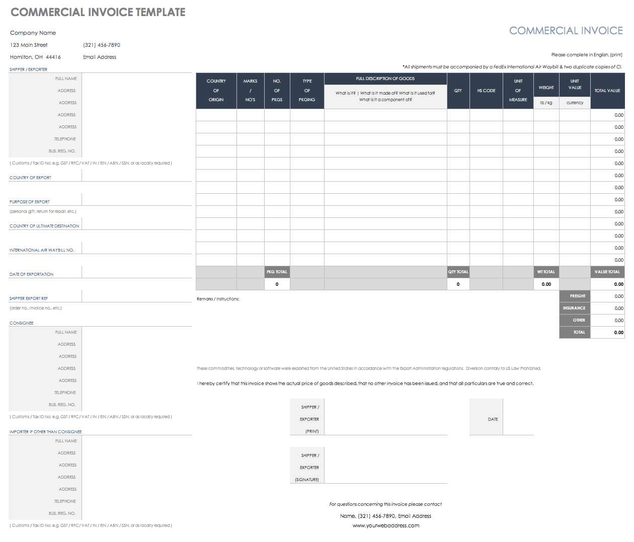 Free Shipping And Packing Templates  Smartsheet Throughout Commercial Invoice Packing List Template