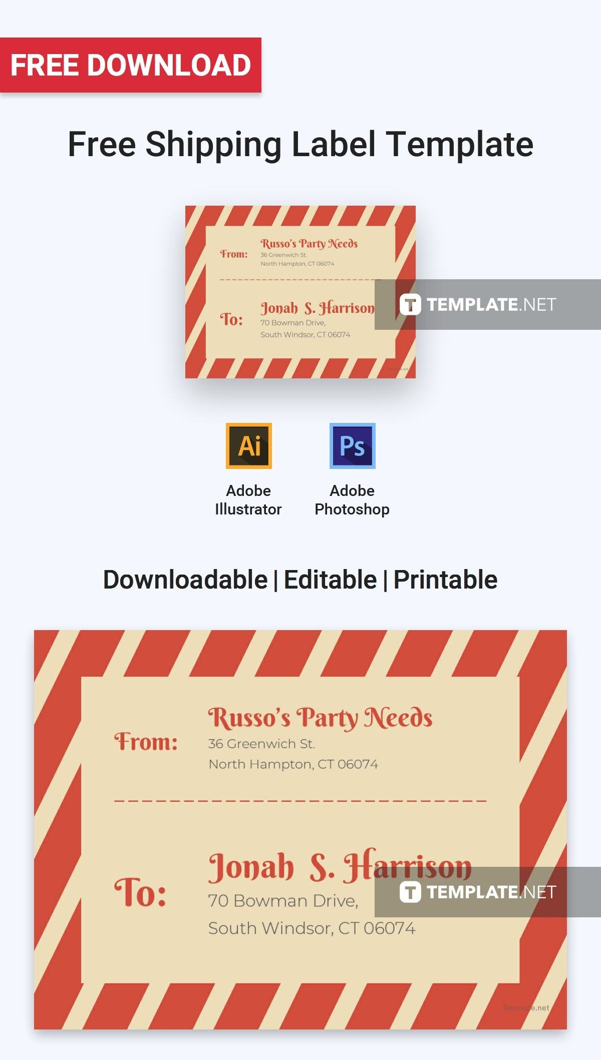Free Shipping Label  Label Templates  Designs   Label For Adobe Illustrator Label Template