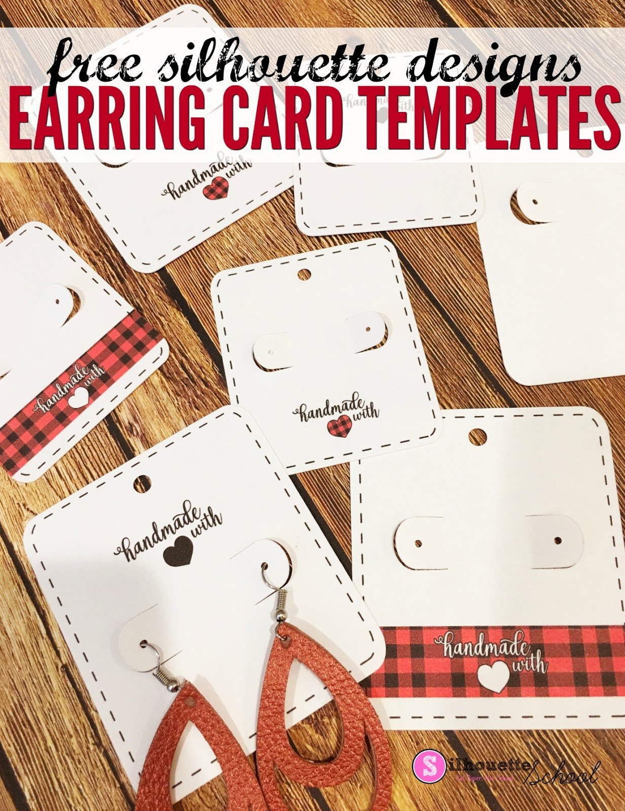 Free Silhouette Earring Card Templates Set Of   Silhouette School Throughout Free Svg Card Templates