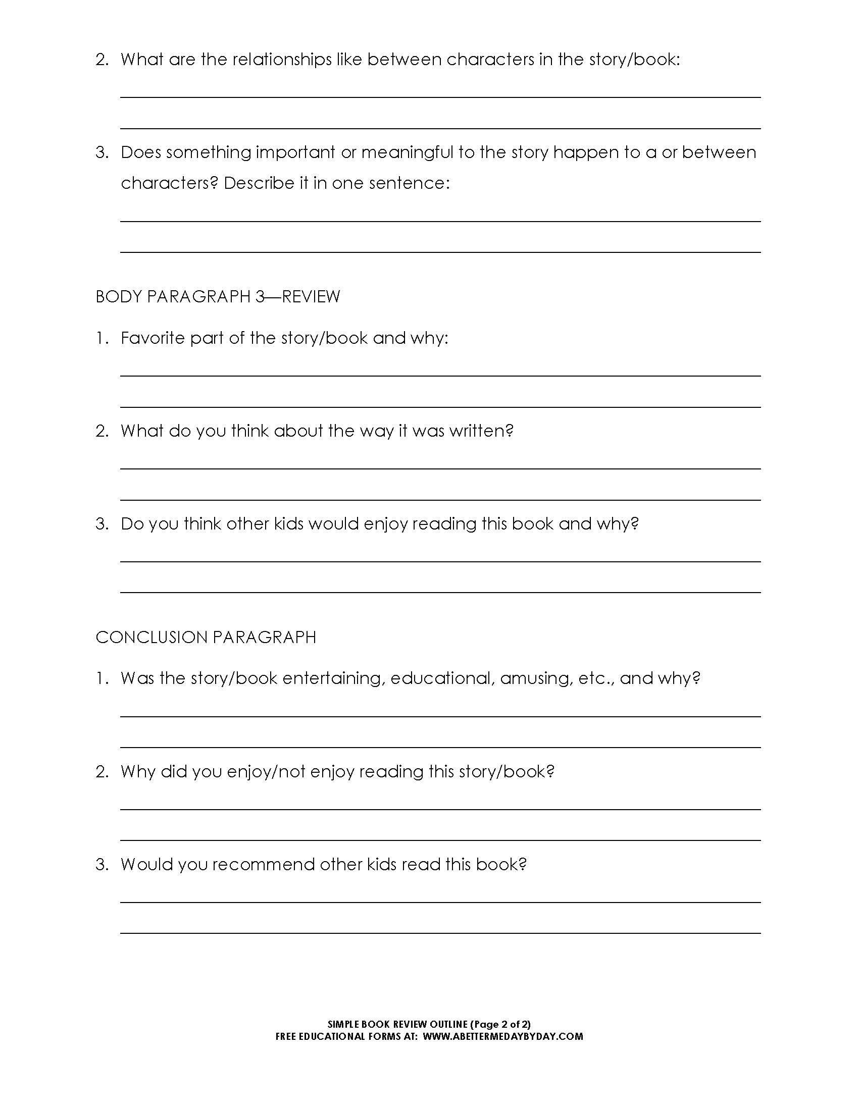 Free Simple  Paragraph Book Review Or Report Outline Form  Randon Regarding College Book Report Template