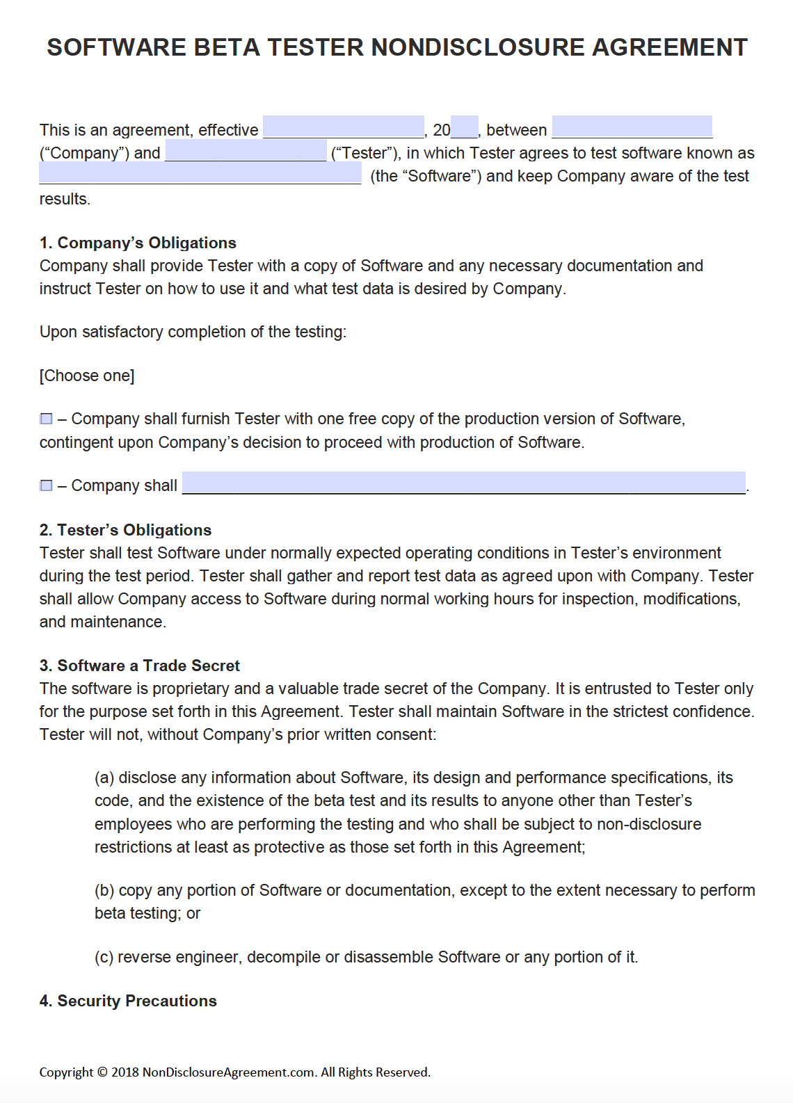 Free Software Beta Tester Nondisclosure Agreement Nda  Pdf With Pilot Test Agreement Template