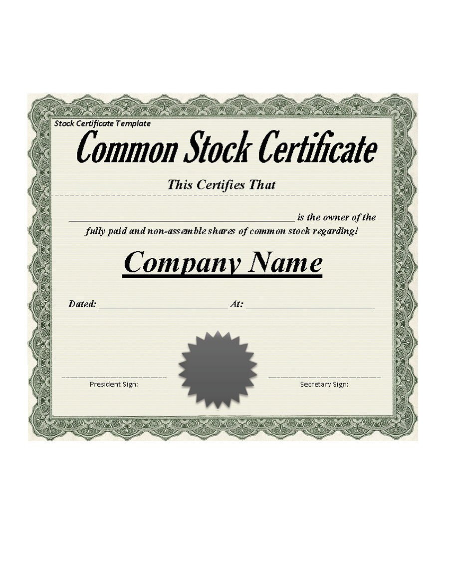 Free Stock Certificate Templates Word Pdf ᐅ Template Lab Intended For Certificate Of Ownership Template