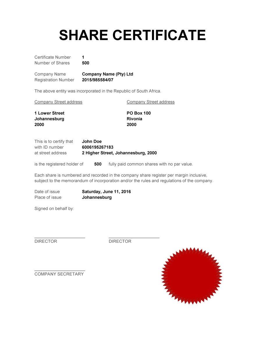 Free Stock Certificate Templates Word Pdf ᐅ Template Lab With Blank Share Certificate Template Free