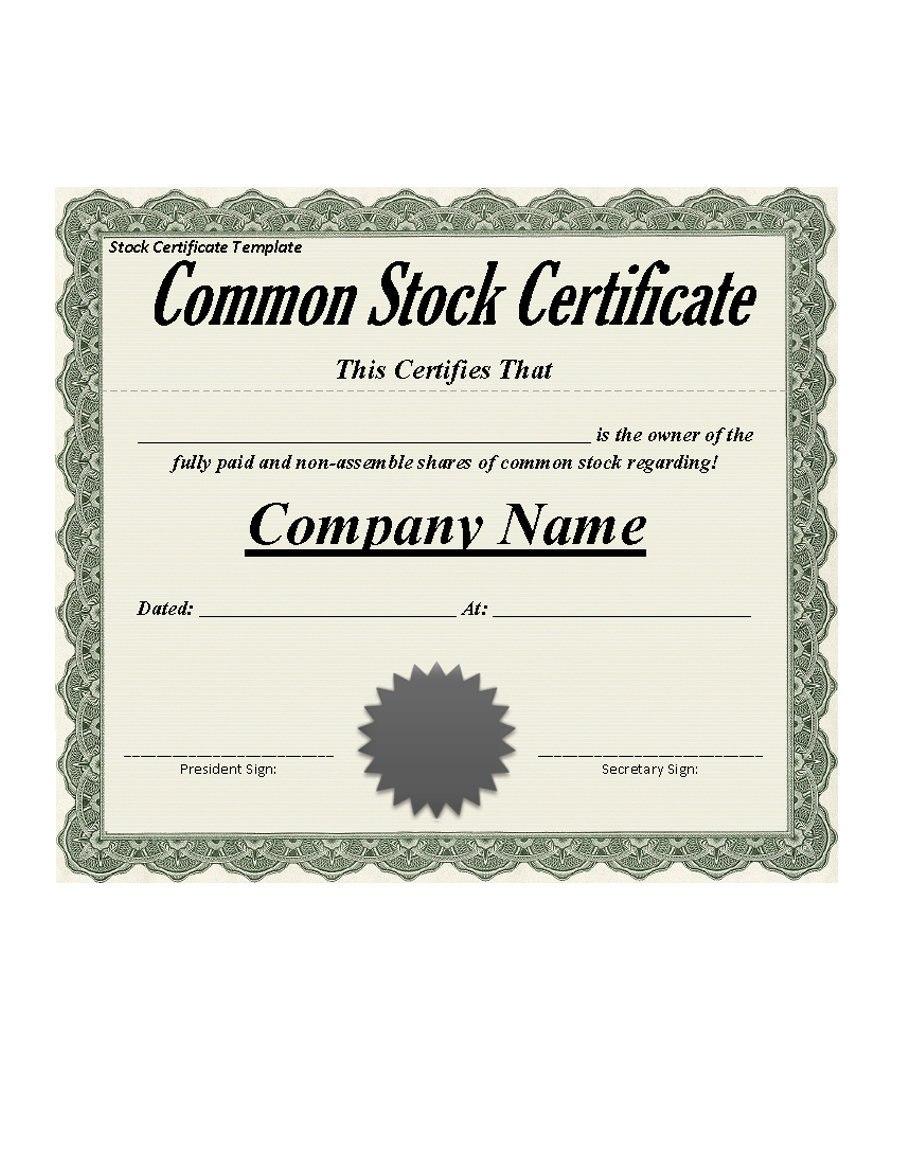 Free Stock Certificate Templates Word Pdf ᐅ Template Lab Within Stock Certificate Template Word