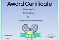 Free Tennis Certificate  Customize Online  Print intended for Tennis Certificate Template Free