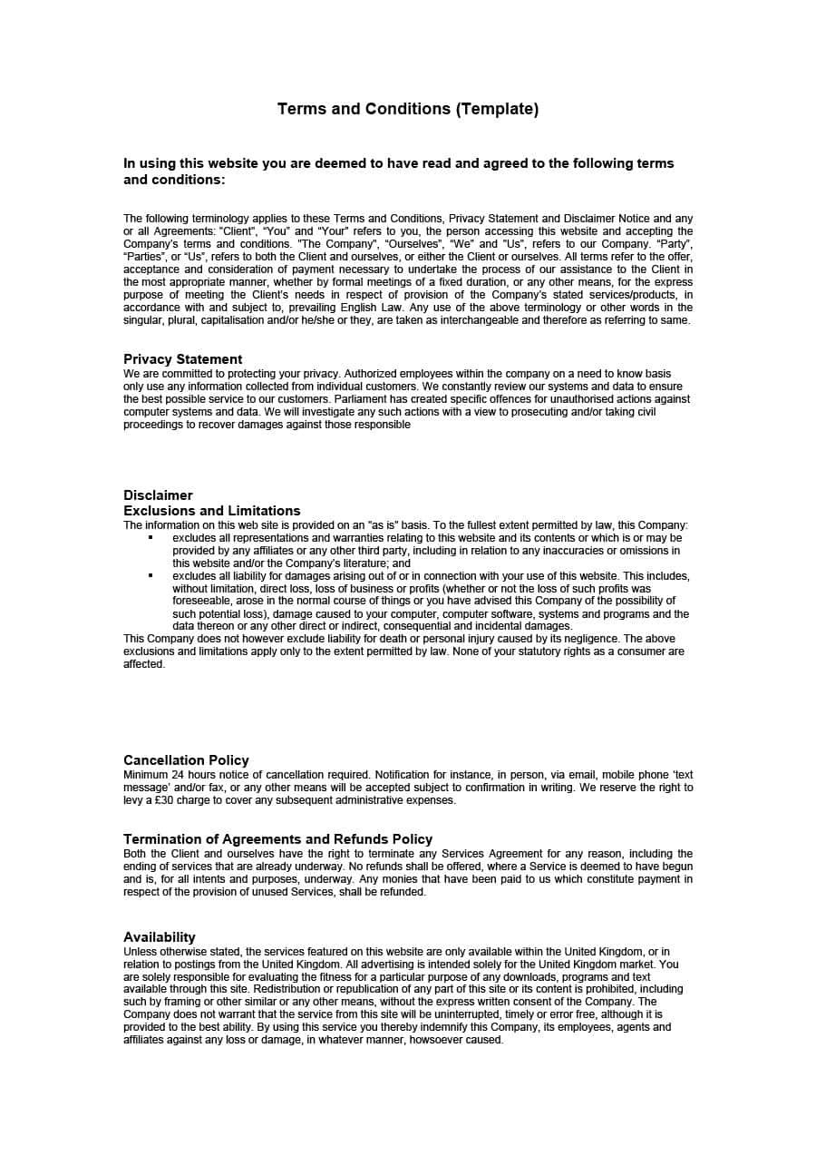Free Terms And Conditions Templates For Any Website ᐅ Template Lab Pertaining To Free Terms Of Service Agreement Template