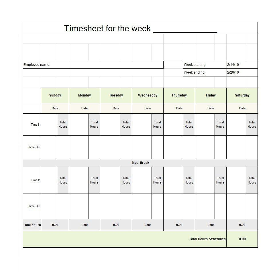 Free Timesheet  Time Card Templates ᐅ Template Lab Within Employee Card Template Word