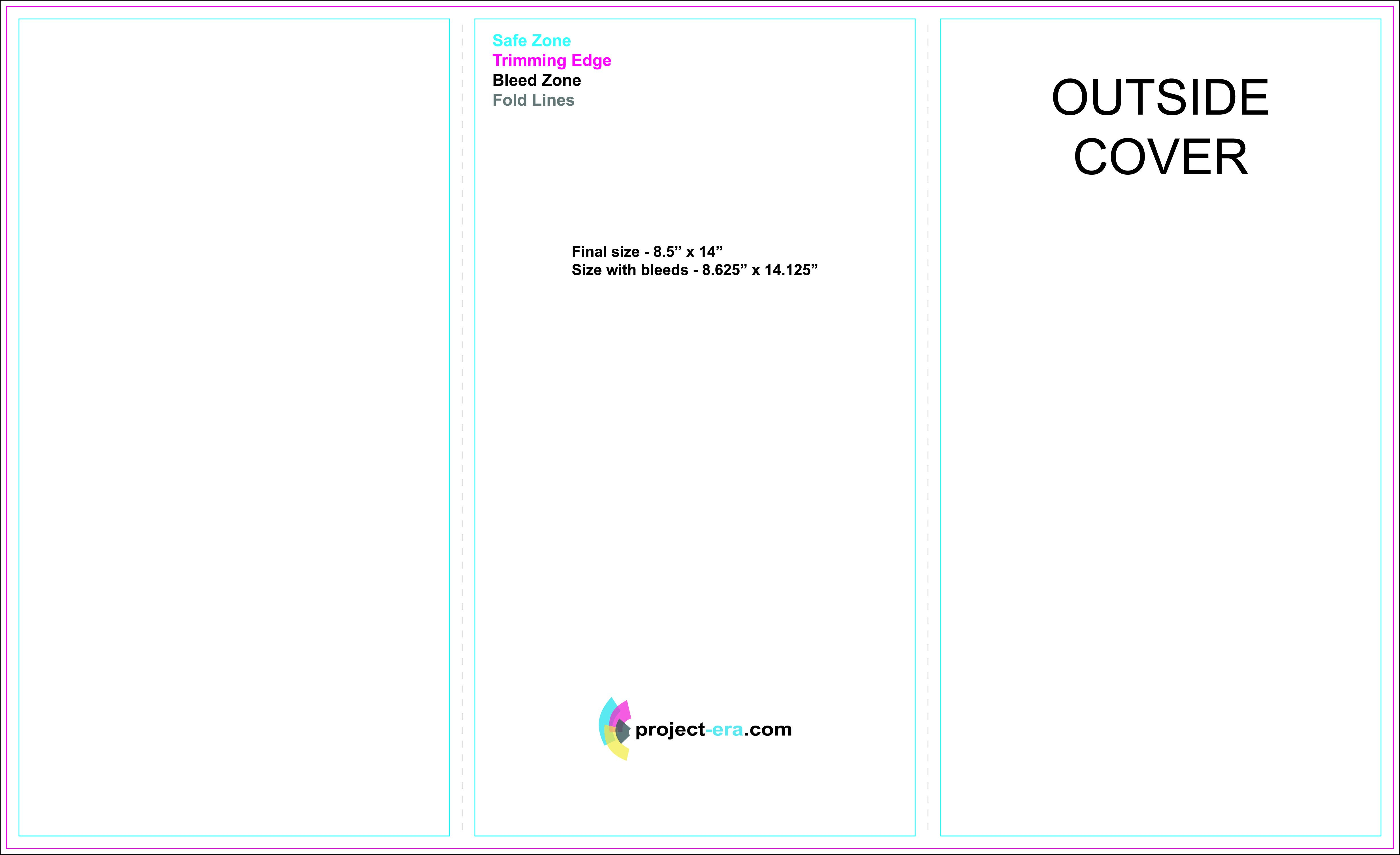 """Free Trifold Brochure Templates Based On """" X """" Paper Size Intended For 4 Panel Brochure Template"""