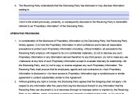 Free Unilateral Nondisclosure Agreement Nda Template  Pdf  Word in Unilateral Non Disclosure Agreement Template