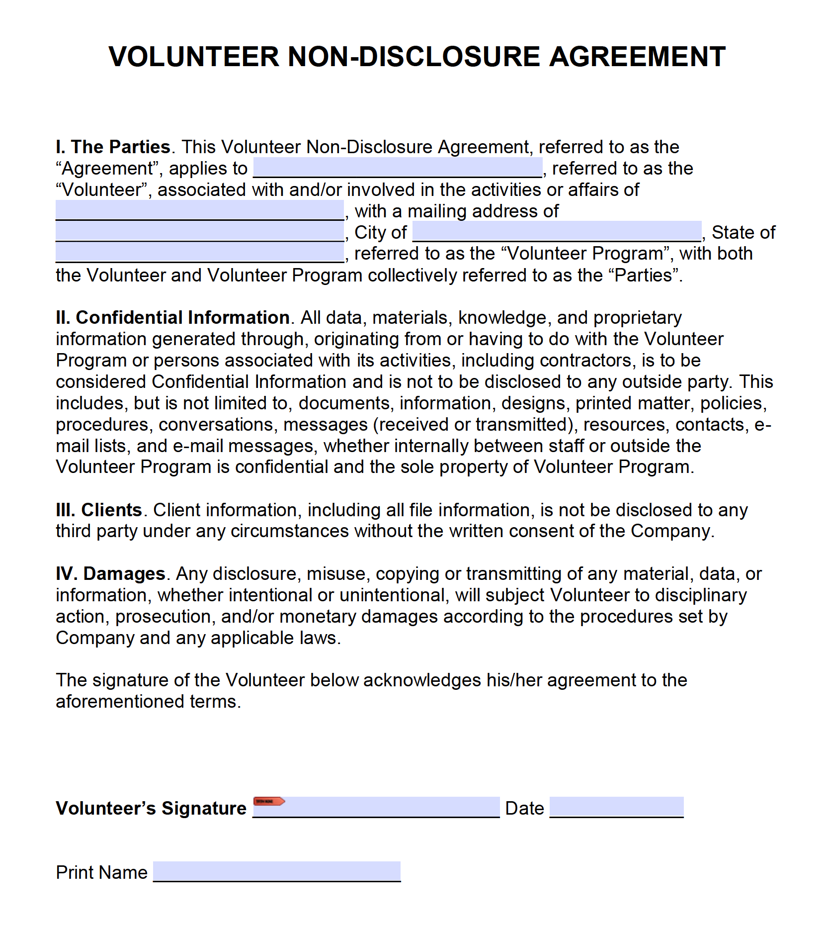 Free Volunteer Nondisclosure Agreement Nda  Pdf  Word Docx Intended For Volunteering Form Disclaimer Templates