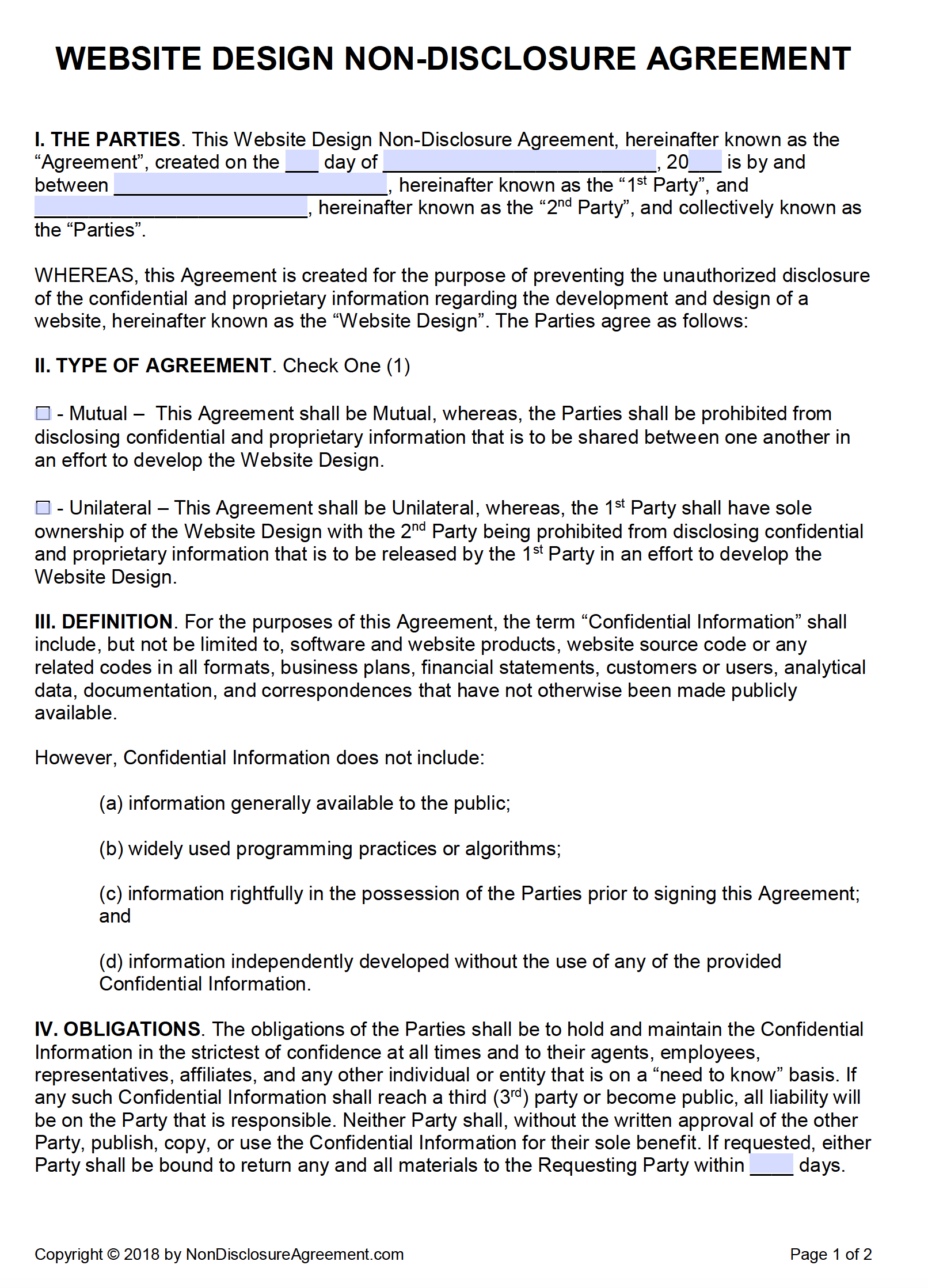 Free Website Design Nondisclosure Agreement Nda  Pdf  Word Docx Inside Free Mutual Non Disclosure Agreement Template