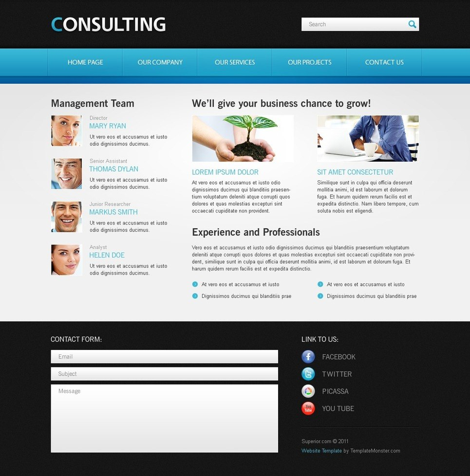 Free Website Template For Consulting Business Intended For Template For Business Website Free Download