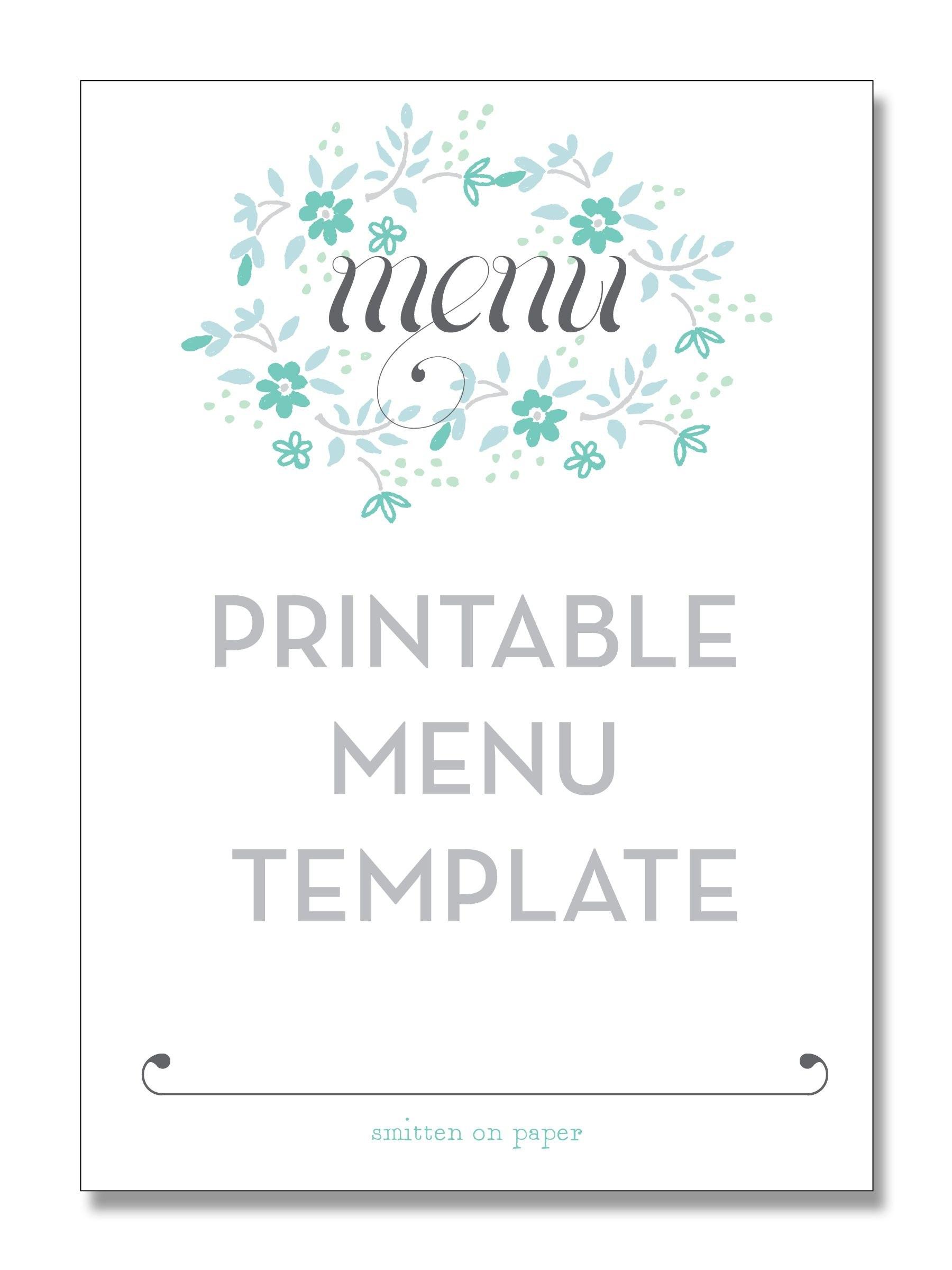 Freebie Friday Printable Menu  Party Time  Printable Menu Menu With Regard To Printable Menu Template Free