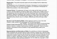 Freelance Agreement Template Free Unique Freelance Writer Contract intended for Freelance Writer Agreement Template
