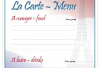 French Menu Template throughout French Cafe Menu Template