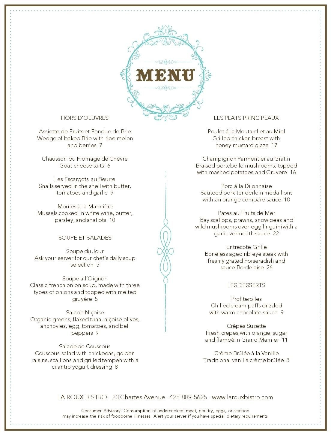 French Restaurant Menu  Musthavemenus  Carnegie Library Project With French Cafe Menu Template