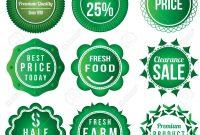 Fresh Food Product Vintage Labels Template Set Green Theme inside Food Product Labels Template