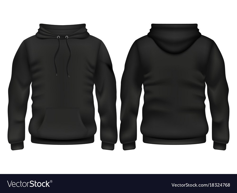 Front And Back Black Hoodie Template Royalty Free Vector Throughout Blank Black Hoodie Template
